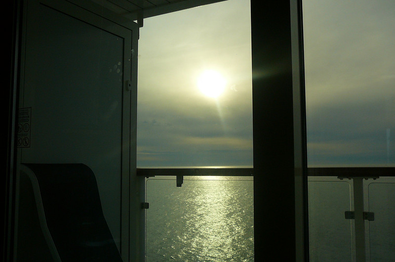 Like every night during our Cruise we were treated to a Beautiful Sunset as we sailed away from Astoria... here's a shot to show you our setting from our Private Balcony Stateroom... a great way to relax before Dinner!