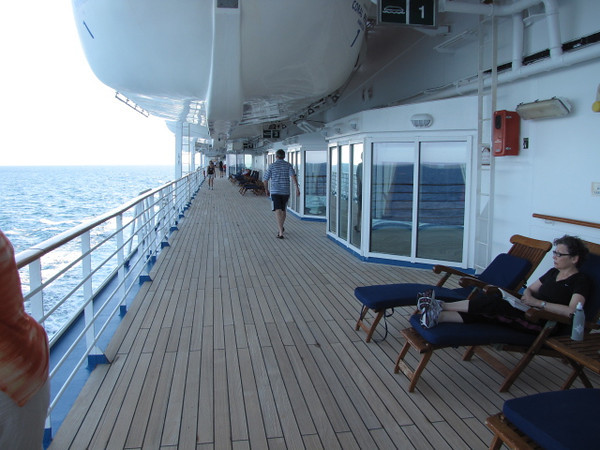"One of the nicest features on the ""Coral"" is the teak deck that wraps around the entire Ship... perfect for a jog,  walk or to simply laze around and enjoy the Gorgeous views!!"