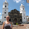 "There's Nancy striking a pose outside the main Cathedral in Old Panama as we enjoy another Beautiful day during our 15 Night ""Panama Canal"" Cruise adventure!"