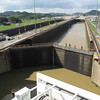 "Here's one last ""Live"" look at the  Panama Canal as we're about to make our way towards Panama City... check out the people crossing over the gates... it really puts into perspective how huge the gates are!!"