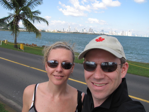 "One last shot of the Happy couple as we say goodbye to Panama City in the background... ""Till next time""!! :-)"