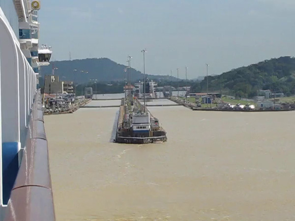 "Here's some footage of us approaching the ""Miraflore"" locks on the Pacific side... as well, Shawn does a little commentary of whether you want your Balcony room to be on the ""Port"" or ""Starboard"" side on a ""Canal Cruise""... to sum that commentary up... who knows? :-)"