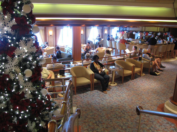 """As we had 2 """"Sea Days"""" between Puntarenas, Costa Rica & Acapulco, Mexico we figured it was the perfect time to show you around the """"Coral Princess""""... here's a shot of the always busy """"Patisserie"""" on the """"Plaza Deck"""".  Specialty Coffees & Pastries... ummm!! :-)"""