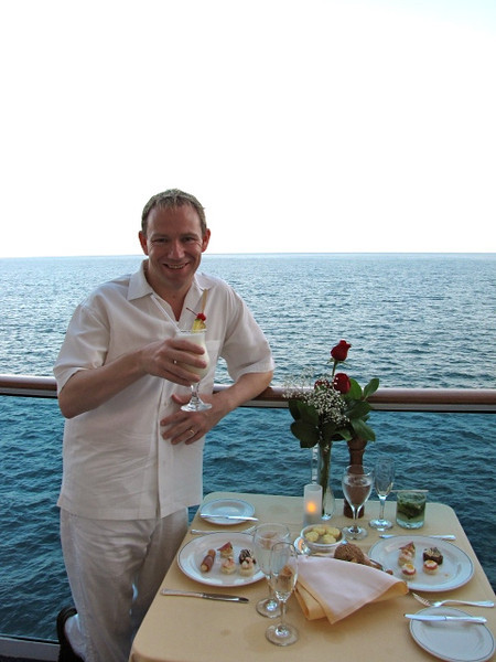 "As we weren't docking in ""Fuerte Amador"" till morning, we figured as we sat just off the shores of Panama City tonight it would be the perfect night to enjoy Princess' unique ""Ultimate Balcony Dining"" experience... a nice memory as last time we did this was during our Honeymoon Cruise!! :-)"