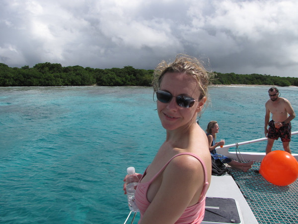 "Nancy looks excited to hop into the Beautiful Turquoise ""Aruban"" waters! :-)"