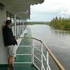 """Shawn enjoying the Serene setting as we experience the last few minutes of our time on the """"Riverboat Discovery"""" Sternwheeler Riverboat Cruise Tour."""