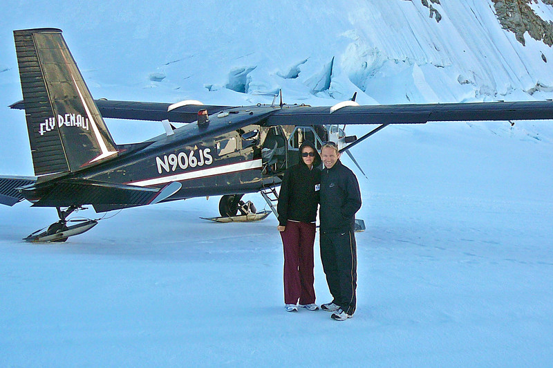 There we are during our amazing Glacier landing experience... FYI, it's much colder up there then at the Lodge!! Tip: If you do this flight bring gloves, a hat and dress warmer then we did. :-) They said we could stay on the Glacier 20-30 min but we could only handle 10. :-)
