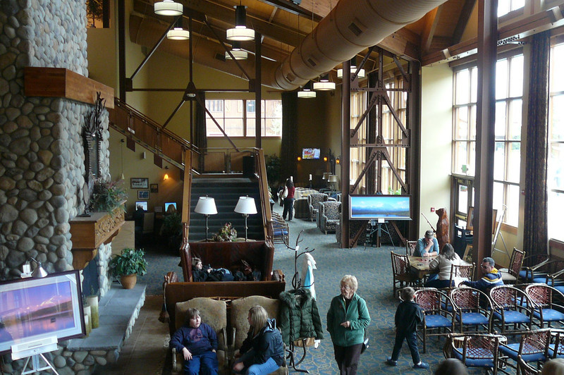 """Princess has 2 great Lodges near Denali Park, one at the North end & one in the South. Here's a glimpse of the Main Lobby, at the North Lodge, where everyone on a Princess Tour stays at least 1 night... the """"Denali Princess Wilderness Lodge""""."""