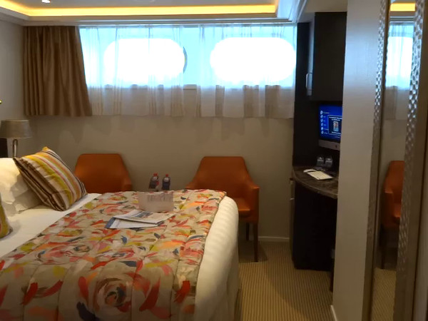 If none of the French or Twin Balcony rooms are in your budget or if you booked too late to get one, the above video shows you what the last option for a room is- the 160 square foot Category D & E fixed window rooms... as the video shows keep in mind these rooms are below the water level on the ship's bottom deck.