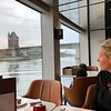 """There's Nancy appreciating some of the Beautiful scenery when we dined in """"Bistro Bach"""" for lunch one day... always a favorite part of a River Cruise for us, enjoying the views from a waterside setting as we're served tasty food!! :-)"""