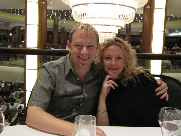 There we are in the 3 story main dining room looking forward to a fabulous meal... the food was great every-night!