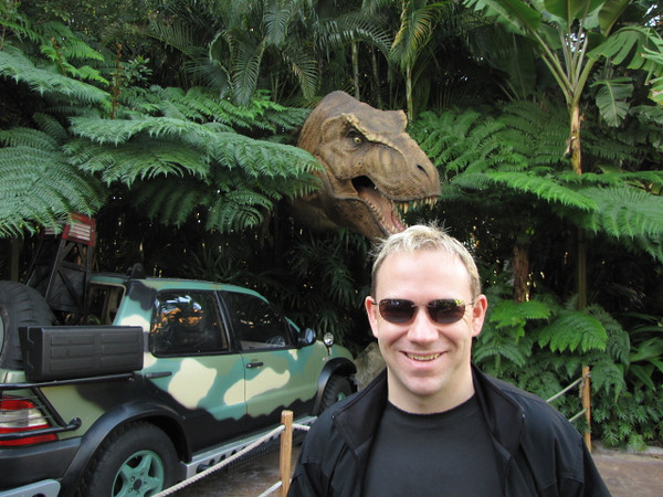 "There's Shawn in Universal's ""Islands of Adventure"" park getting ready to take the Jurassic Park River Adventure."