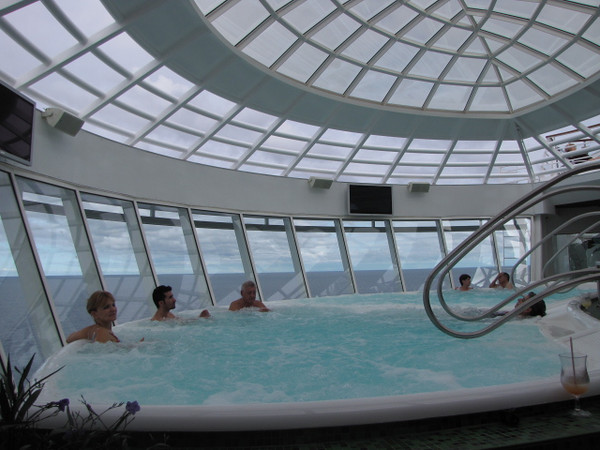 Another bit of heaven awaits you on the Oasis of the Seas in the Hot tubs that hang over the Beautiful Ocean below... Soak and relax!