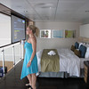 "There's Nancy ""ooo'ing"" and ""ahh'ing"" as she checks out the views from the ""Royal Loft"" Suite's Master Bedroom."