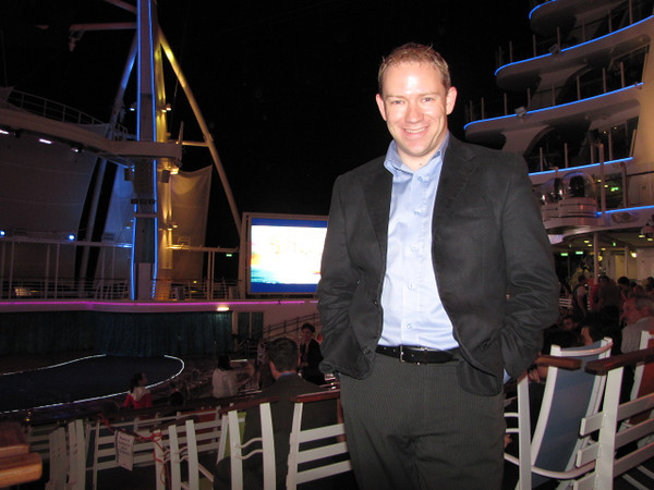"There's Shawn getting ready to watch the Aqua show as we enjoy our final night on ""Oasis""... can't wait!  What a great 3 days we had exploring this Beautiful Ship... one we're sure we'll sail on again someday!!"