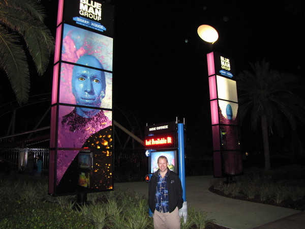 "Here's Shawn after we just saw the ""Blue Man Group"" show... it was amazing! Incredible what they can do with paint. We highly recommend this show!"