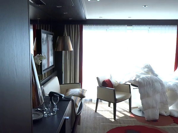 "If you like bigger, a great deal with Avalon is to get the ""Royal Suite"" which gives you 50% more room for about 20% more money but as there's only 2 onboard they always sell out early… here's a video of that room."