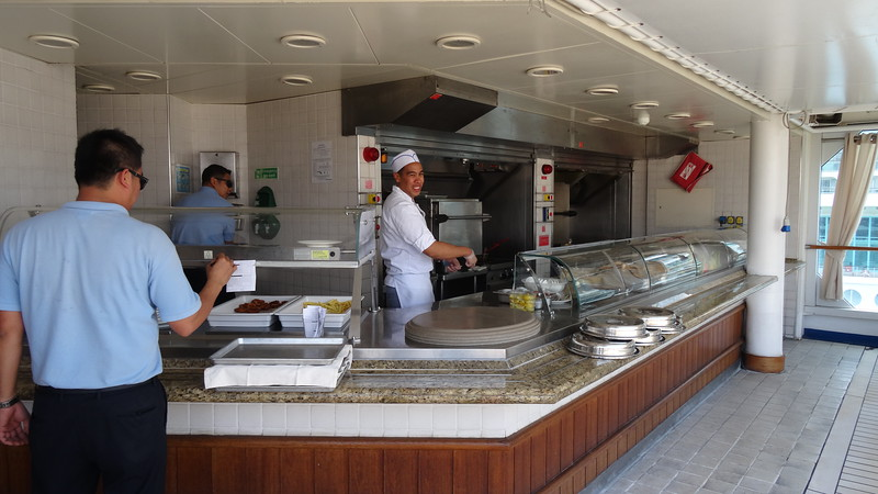 "For a more casual meal during the day ""The Grill"" next to the pool cooks up some yummy burgers, hot dogs, sandwiches, etc. Unlike on a big ship Cruise though there's no lining up with the masses (years ago we waited 20mins in a Carnival line up at the grill, literally!) the gracious staff serve you at your table which makes for a much nicer outside/pool deck burger experience! :-)"