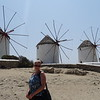 There's Nancy checking out some of Mykonos' famous windmills.