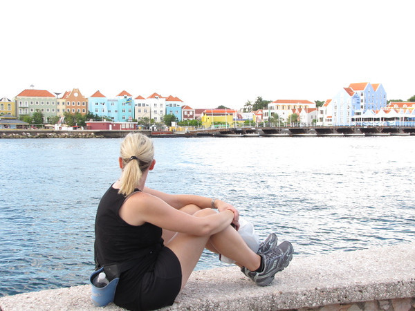 "We went for a nice long walk around Curacao's historic Willemstad area (a UNESCO site) and also around the ""old town"" area across the river... so as you can see from Nancy we needed a few minutes of relaxation time too. :-) Check out those buildings, we did say Curacao was a colorful place!"