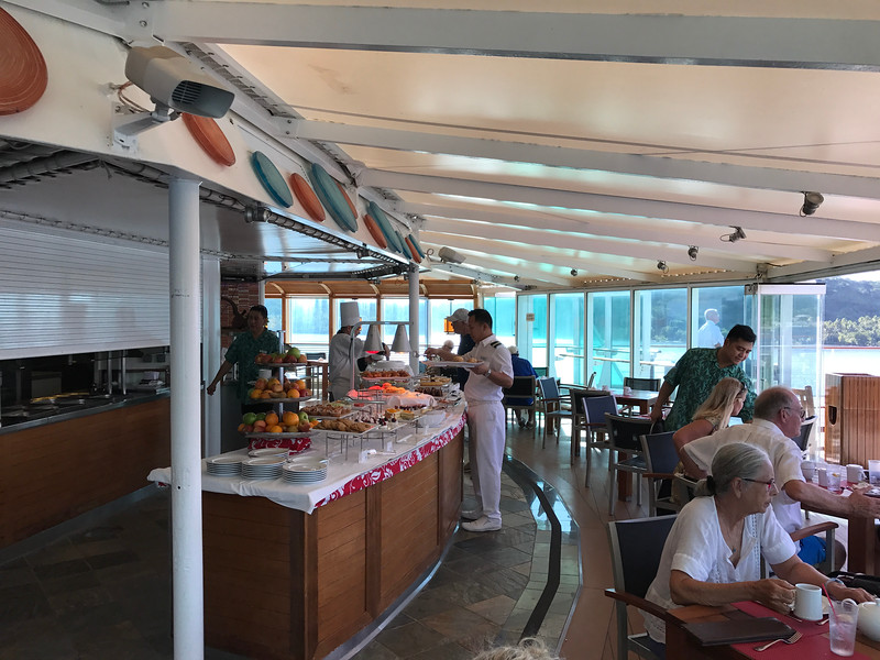 "Upstairs on the Pool deck you'll find ""Le Grill"" where you can enjoy breakfast & lunch buffets and late afternoon tea time."