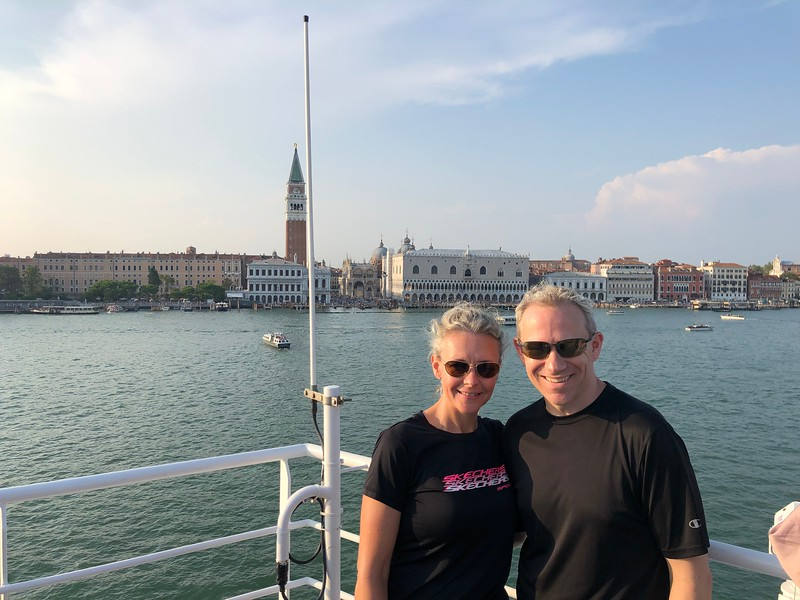 """There we are sailing past Venice's Famous """"St. Mark's Square"""" & """"Doge's Palace""""... not hard to have smiles on your face when in a setting like this!! :-)"""