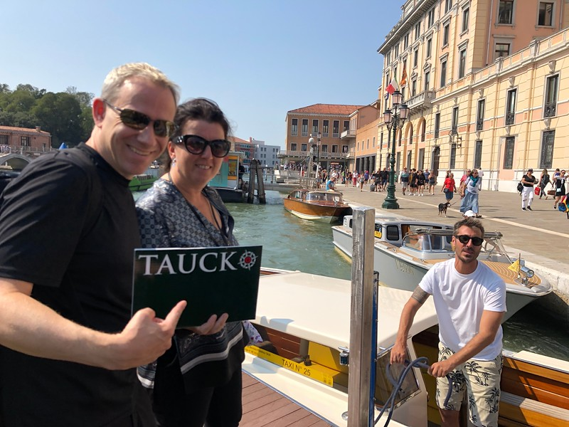 In you've never been to Venice you're in for a treat your first time there... since Venice is made up of over 100 Islands connected by bridges there's NO motor vehicles in the city so boats are the method of transportation when there... here we are with our Tauck rep being escorted onto our Private boat for the ride into town.