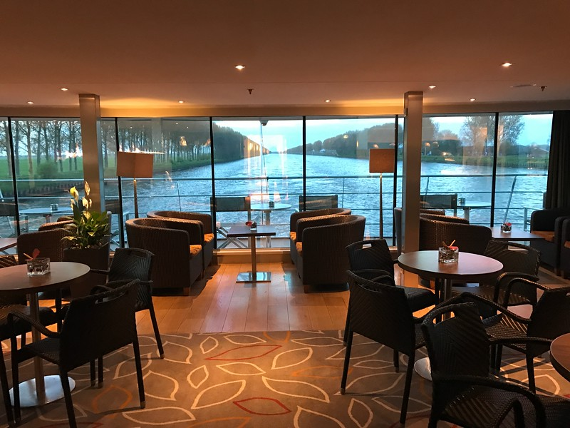 There's a shot of the smaller lounge at the back of the ship… great for a quiet get-away to read a book, play a board-game, etc. and of course to enjoy the views!
