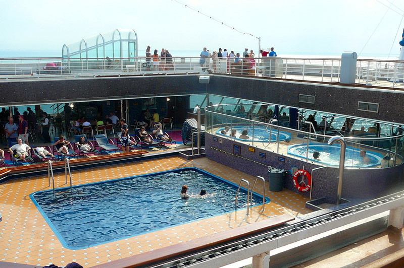 "There's the back of the Ship on the ""Lido"" deck. Lot's of action back here 24 hours per day! A great place to swim, go for a Hot Tub, have a drink at the Bar, a burger at the Grill or a slice of Pizza at the 24 Hour Pizzeria."