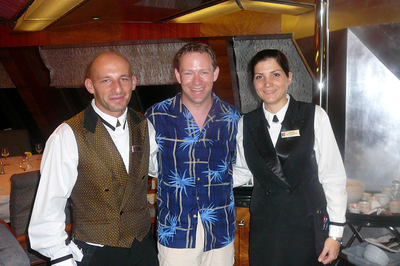 There's Shawn getting his picture taken with our two great Servers who took care of us throughout the week... Marianne, our Head Waiter & Sinisa, her assistant. They were awesome!! :-)