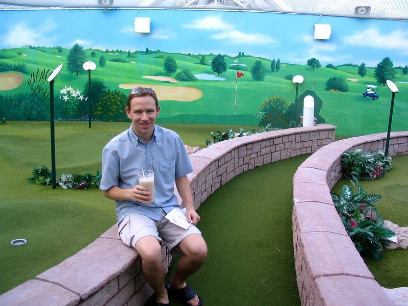 Ooops, guess Shawn should have taken his clubs on our Cruise... who knew there'd be mini-golf? :-)