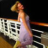 There's Nancy having a little fun on deck while enjoying the beautiful nighttime Caribbean breeze. :-)