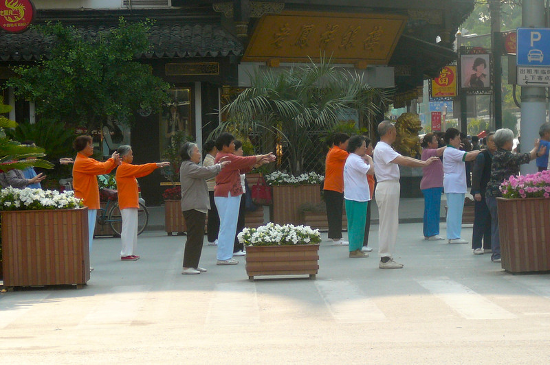 "Here's ""Tai Chi"" being practiced at around 7am by the locals... a common site in China."
