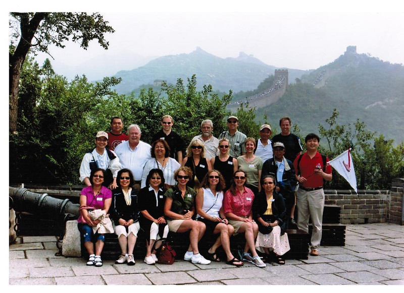 "Before our climb though we figured what a great time to get a Memory of our fabulous ""China Group""!!  There's our ""May, 2009 China 'Yangtze River Cruise' Group""!!"