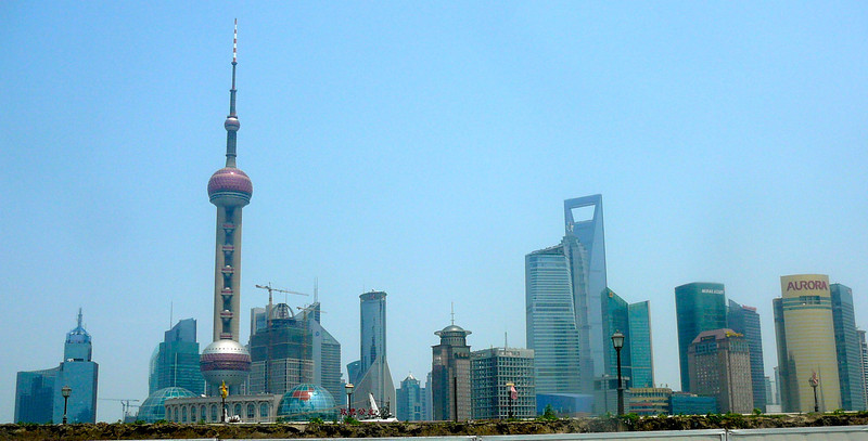 "And there's a shot looking back at the Modern ""Pudong"" area taken from the ""Bund"" side."