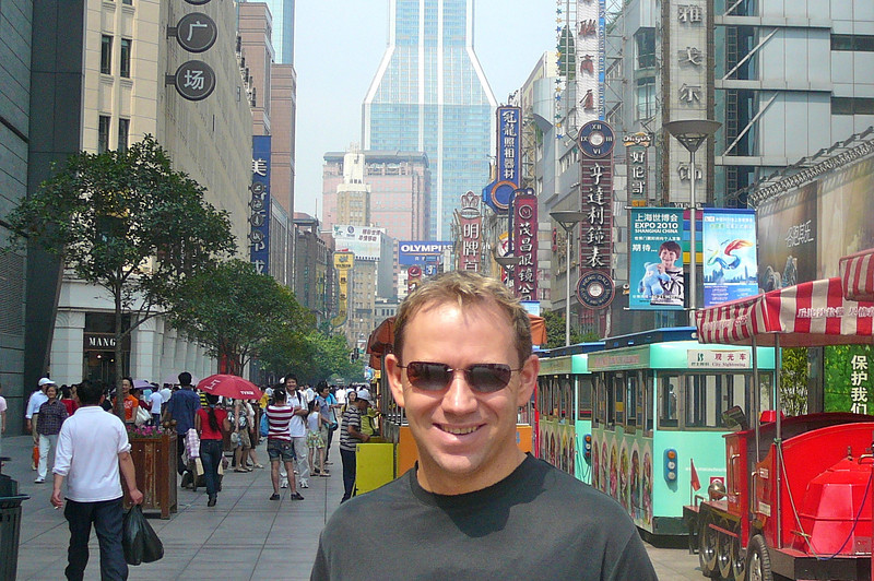 "There's Shawn in the ""Nanjing Pedestrian Shopping & Entertainment District"" of Shanghai... a Shopper's Paradise!"