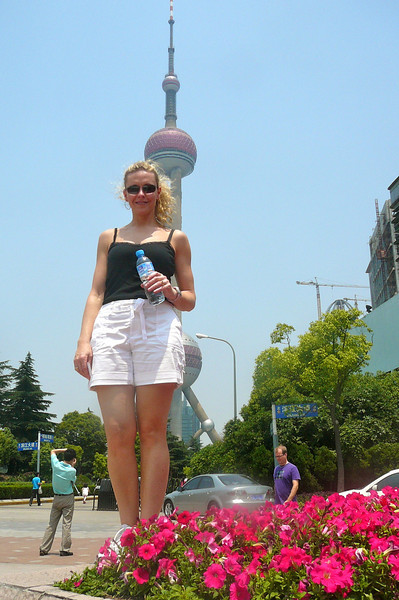 "There's Nancy and Shanghai's ""Pearl Tower""... 2 Beauties!! :-)"