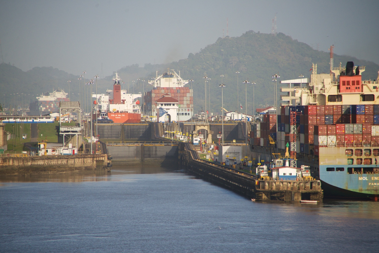 First sight of Miraflores Locks (going Pacific to Atlantic)