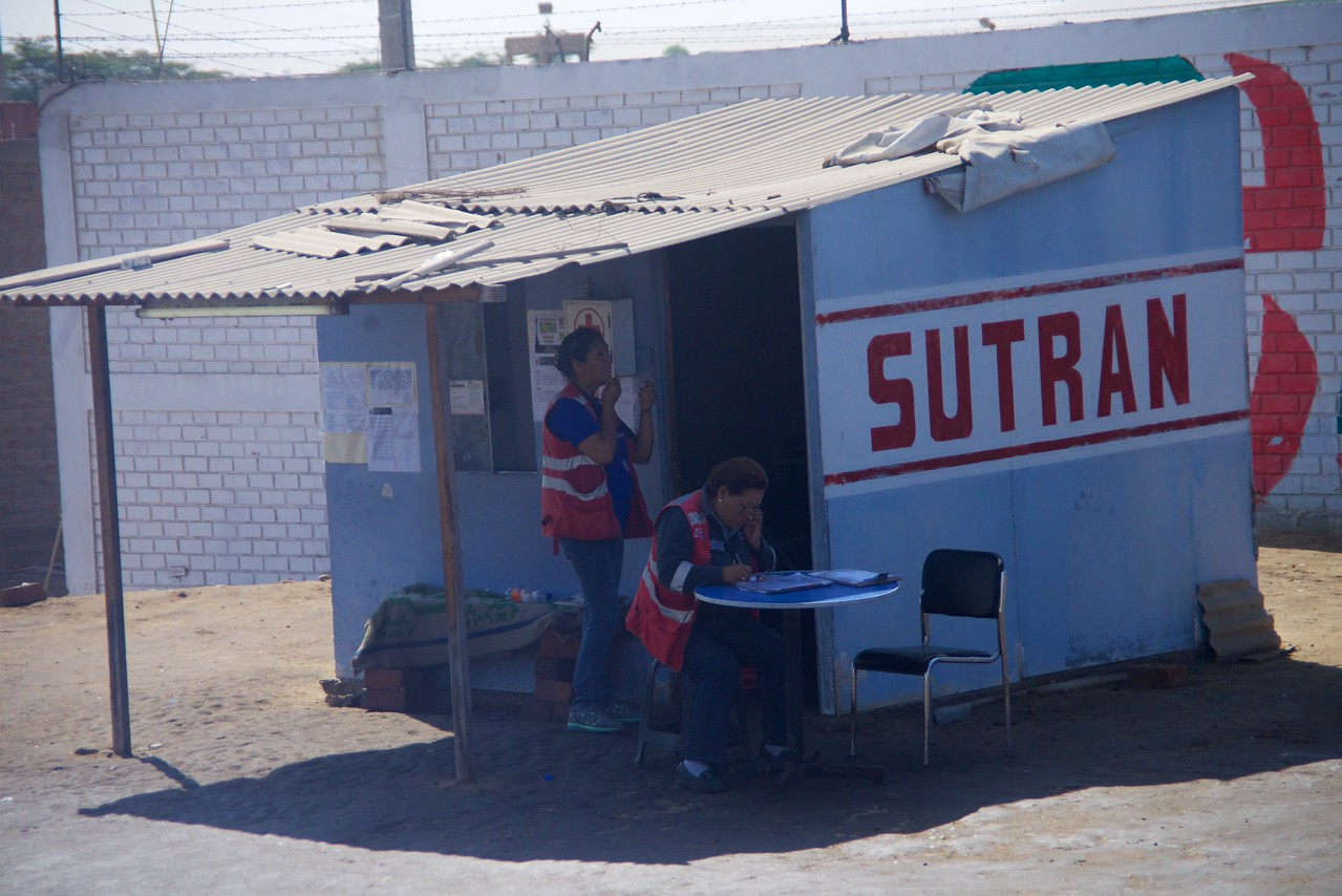 Sutran is a company that checks Bus and Truck paperwork for tickets and warrants  This company's control of the roads has cut down on accidents and speeding