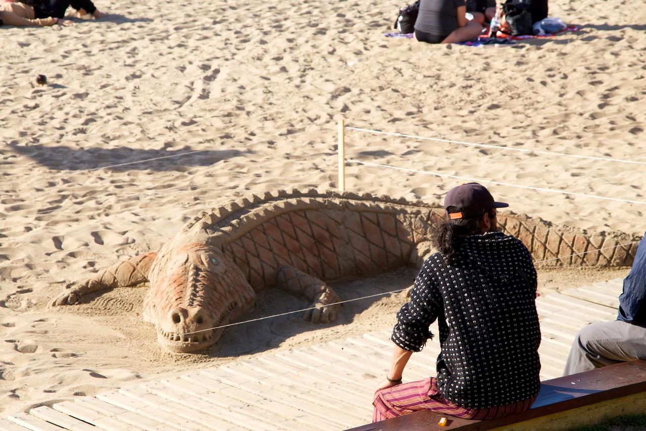 Crocodile Sand Sculpture at Vina del Mar