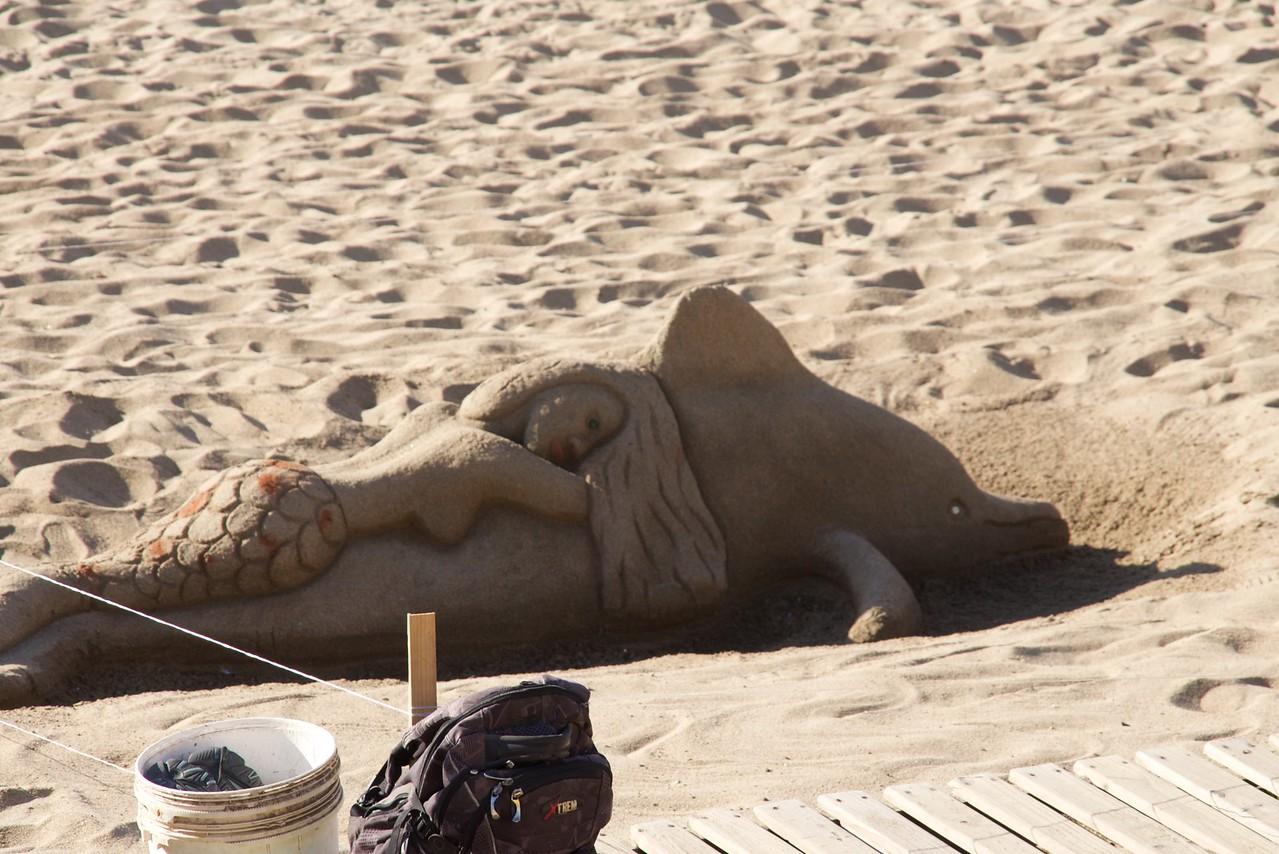 Mermaid & Porpoise Sand Sculpture at Vina del Mar