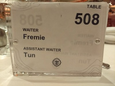 Fremie Table number and our waiters