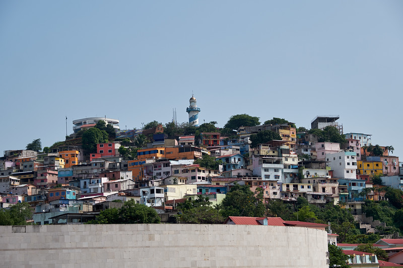 The lighthouse overlooks the oldest neighborhood of Guayaquil, Las Penas.