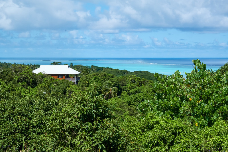 Home has an incredible view from the second highest point on Aitukai.