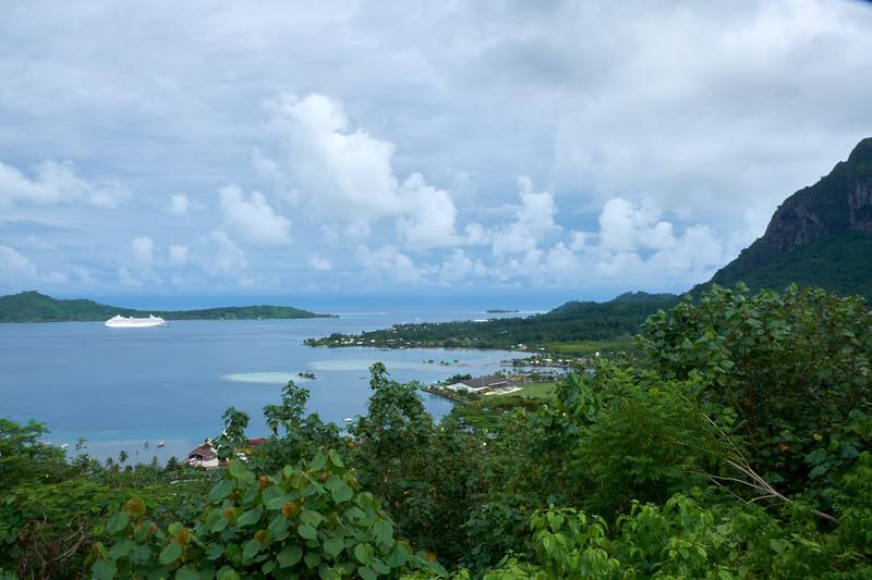 View from Mt. Otemanu of Bora Bora lagoon and Vaitape, largest city of Bora Bora.