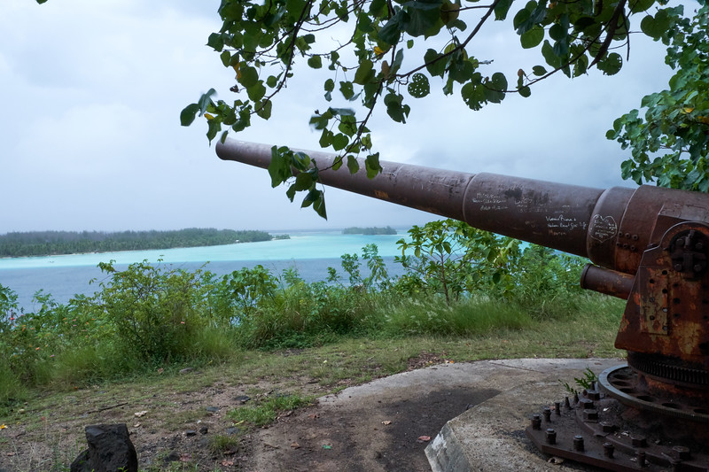 US chose Bora Bora as a South Pacific military supply base. One of the eight guns set up at strategic points around the island.