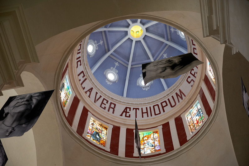 This is not the original San Pedro Claver Cathedral ceiling. This one was installed in 1927 using original stain glass panels.
