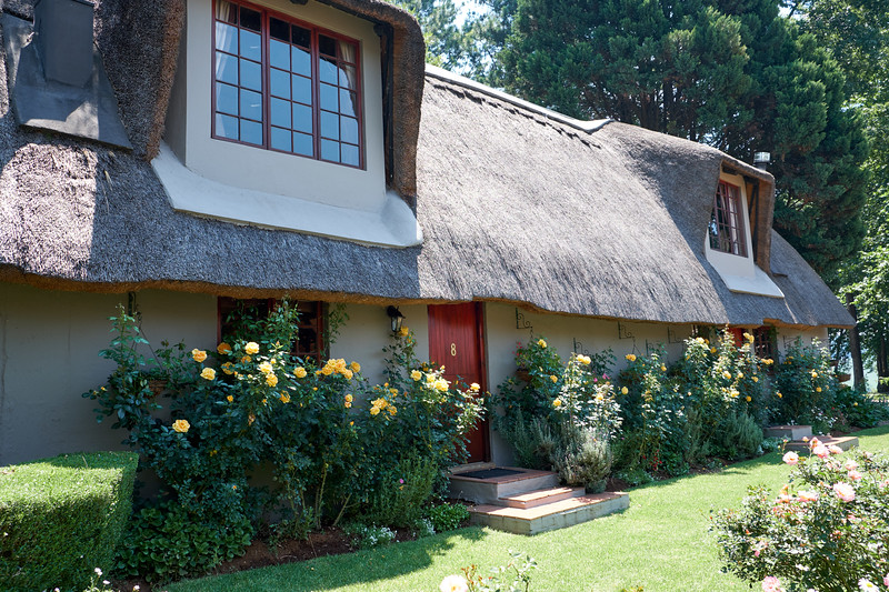 Quaint thatched roof buildings house the rooms, spa and conference center.