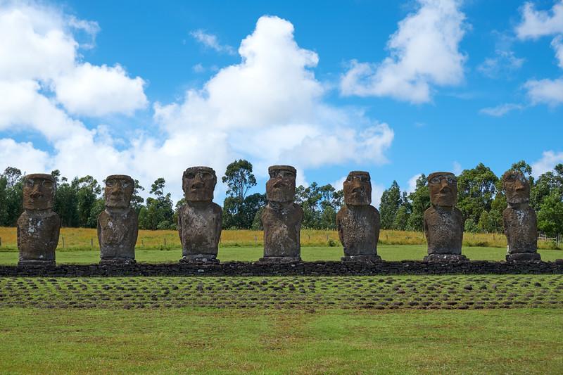 Seven Moai at Ahu a Kivi represent the explorers sent to explore the island before Hotu Matu'a and his colonizers arrived.