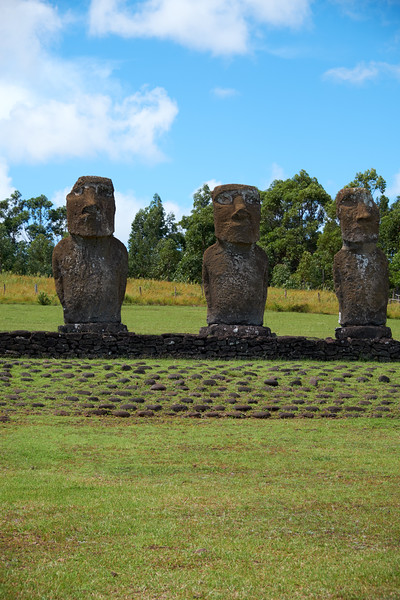 The ahu, ceremonial center, is oriented astronimically since the moai look to sunset during equinoxes.